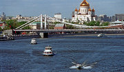 Вид на Крымский мост и Храм Христа Спасителя